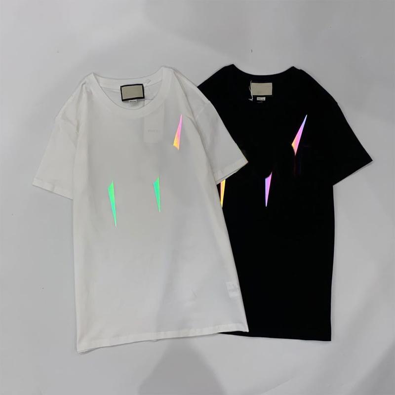 Mens Designer T-shirt 2020 Nouveau été T-shirts Mode d'impression réfléchissant Hauts Hiphop Casual lumineux T-shirt 2020 Top qualité