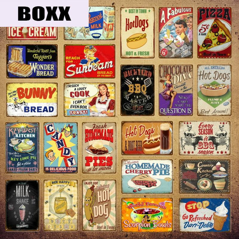Wonder Bread Metal Signs Handmade Pies Vintage Poster Kitchen Decor Cafe Bar Shop Decorative Plate Food Cook Wall Sticker YI-154