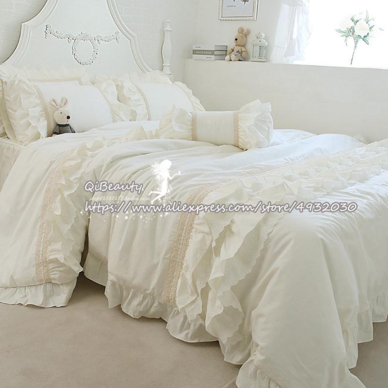 Европа и Соединенные Штаты Princess Сплошной цвет 100% хлопок Постельное белье 100% хлопок 4-Piece Set Ruffled White Bed юбка
