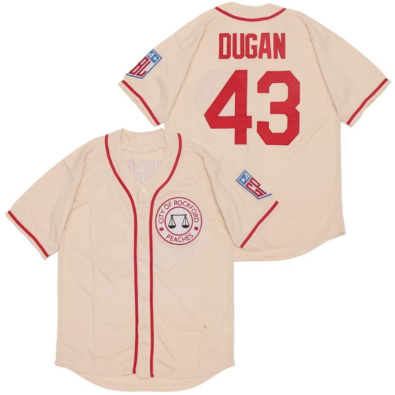 43 Jimmy Dugan city of Rockford Peaches Tom Hanks All Stiched Baseball men Jersey AAGPBL A League of Their Own Movie Costume