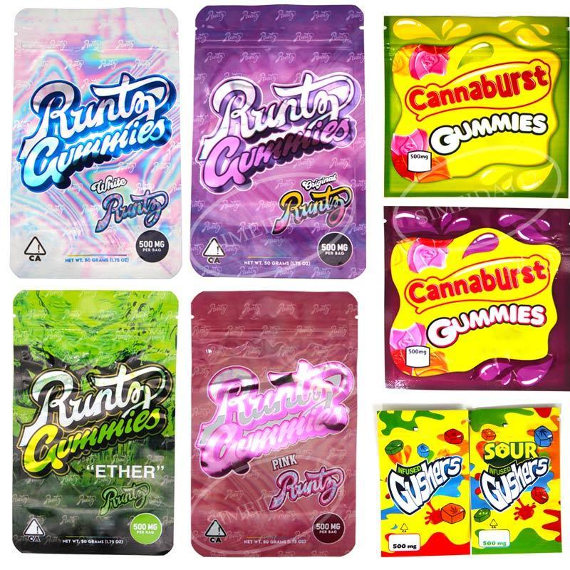 Runtz Gummies Сумка полудурков веревка Укусы Фонтанирующие скважины Cannaburst Gummies сумка Edibles молния Защита от детей Упаковка мешок в розницу хранения пакет пустой мешок