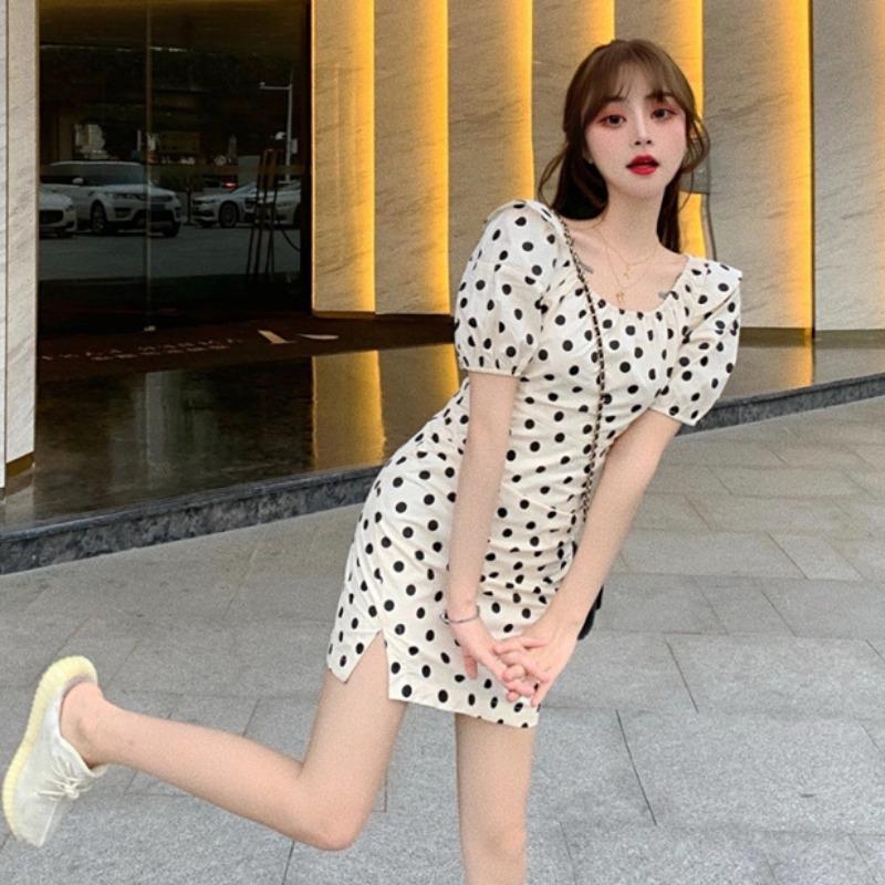 Robes Femmes Mode Vêtements pour femmes magasin manches bouffantes à pois à manches courtes Robe taille amincissant sel douce 2020 nouvelle mode