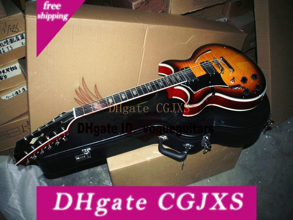 مخصص للتسوق 12 سلاسل الغيتار اليد اليسرى الغيتار جوني الجسم الجوف جاز الكتريك جيتار شحن مجاني
