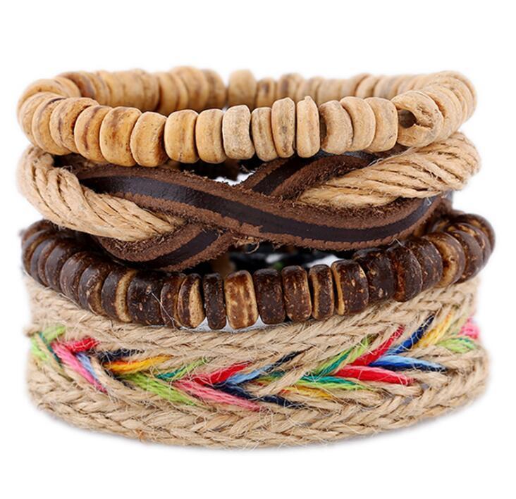 genuina pulsera de cuero 2020 de la venta caliente de los hombres de la PU de bricolaje de cáscara de coco Perlas cuerda de cáñamo traje de combinación pulsera 4styles / 1set