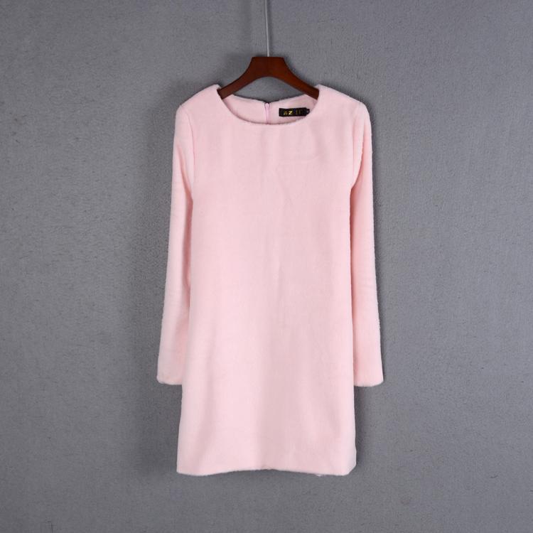 Kış 2019 Yeni Bayan Sweet Mori Kız Midi Elbise Uzun Kollu yuvarlak Boyun Gevşek Bel Yün Elbise Tide