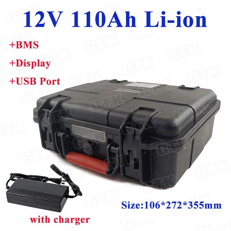 GTK 12V 110Ah Lithium li ion battery pack built-in BMS for UPS solar tour bus power system street light+10A Charger
