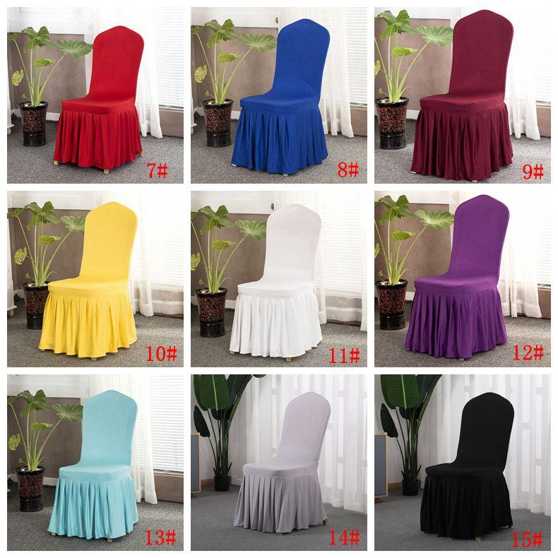 15 Colors Solid Chair Cover with Skirt All Around Chair Bottom Spandex Skirt Chair Cover for Party Decoration Chairs Covers DBC BH2990