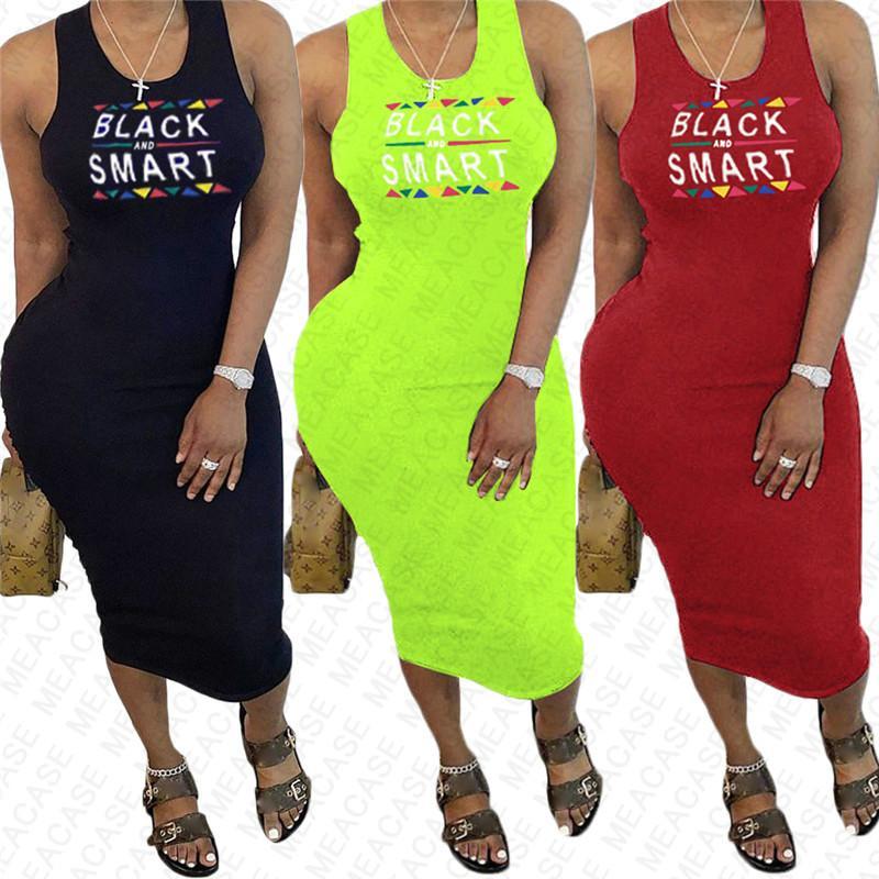 BLACK Lettre SMART Impression femmes robe d'été Designer Robes sexy moulante manches plage Casual plissés Robes Vêtements S-XXL D7608