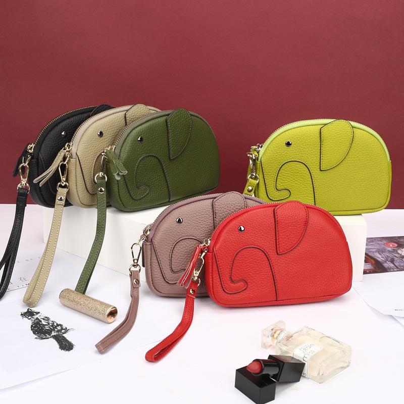Designer High-End New couro genuíno Womens Clutch Bag Criativo Mini Elephant Bag relevo couro Zipper Bag Longo móveis Womens Wallet