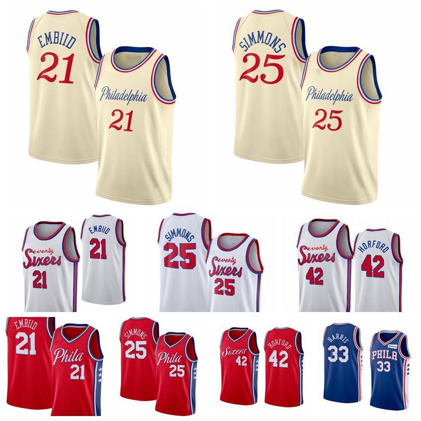 MännerPhiladelphia76ersJoel 21 Embiid Jersey Ben 25 Simmons Jersey Al Horford Erving Allen Iverson 3 sixers Basketball-Trikots