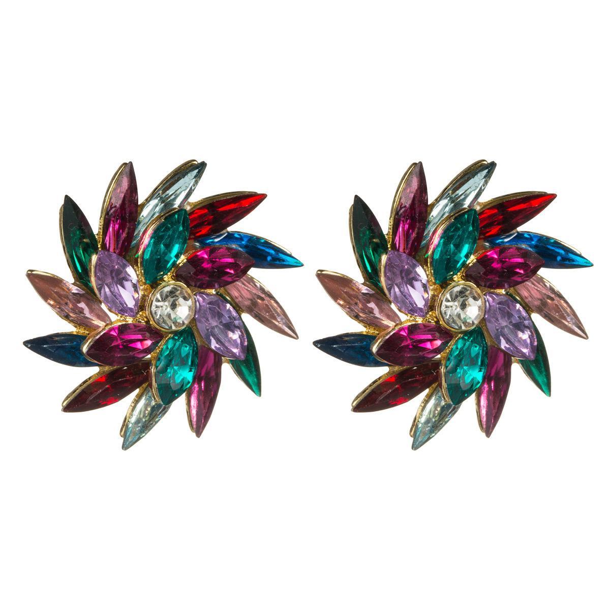 Stil Yaratıcı Tasarım Anlamı Saat Yönünün Rotasyon Rhinestone Çiçek Tam Elmas Küpe Kadın Moda Hassas Küpe