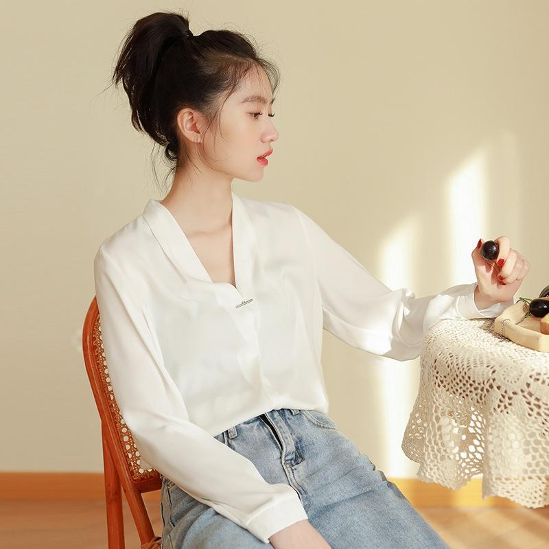 2020 новая кнопка дизайн корейского стиля V-образным вырезом Пуловер кнопки рубашки женщин на рабочем месте темперамент длинным рукавом пуловер сплошной цвет рубашки