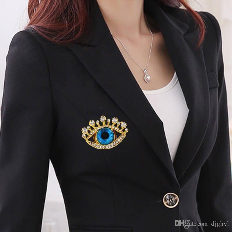 Broche de pinos de cristal Broches Para as mulheres Vestuário Decoração Moda belas jóias Olhos Azuis na moda Broches presente
