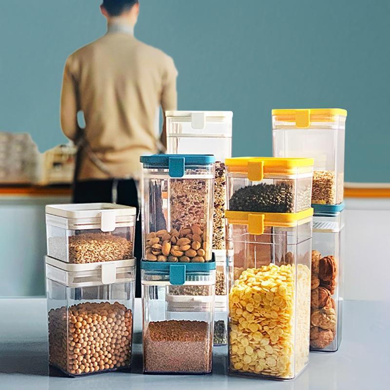 Ménage Boîte de rangement en plastique transparent Container Set avec Pour Couvercles Cuisine Flacons en bocaux Séché Grains réservoir