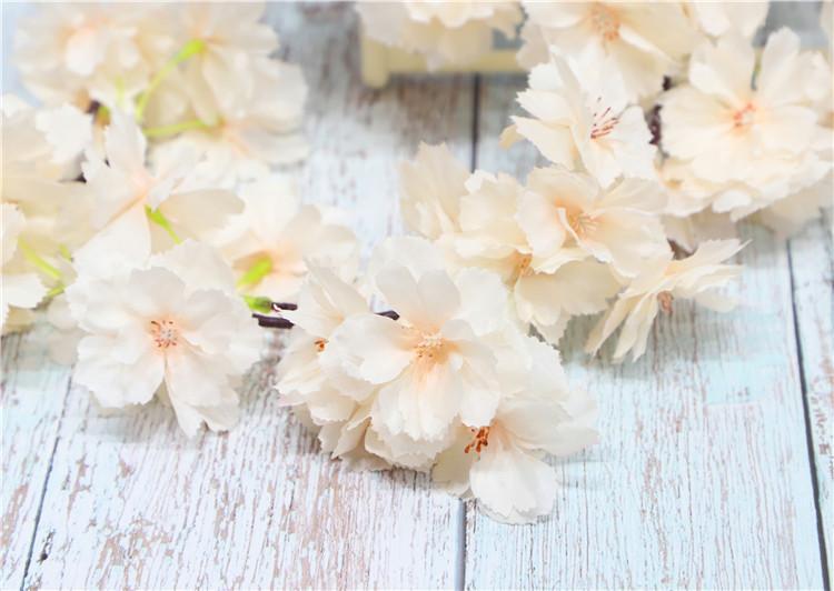 2pcs / много искусственного Cherry Blossom Cane Ratten моделирования цветов Vine Свадьба Главная Фестиваль украшение декоративный цветок