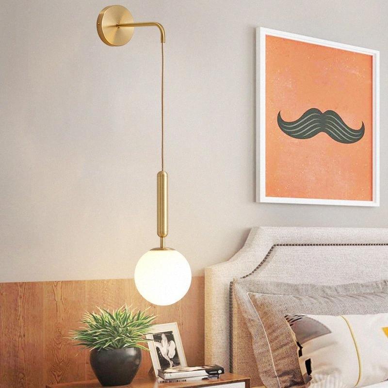 Simple Glass Ball Wall Lamp Nordic Personality Living Room Wall Light Post Modern led Lamps Creative Bedroom Bathroom Light utq4#