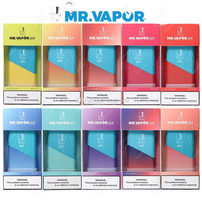 Newest MR VAPOR AIR Disposable Vape Pen Device System 500Puffs Hits Mr.Vapor 280mAh Battery 1.3ml Pods Vapor e Cigs Bars Portable Vaporizers