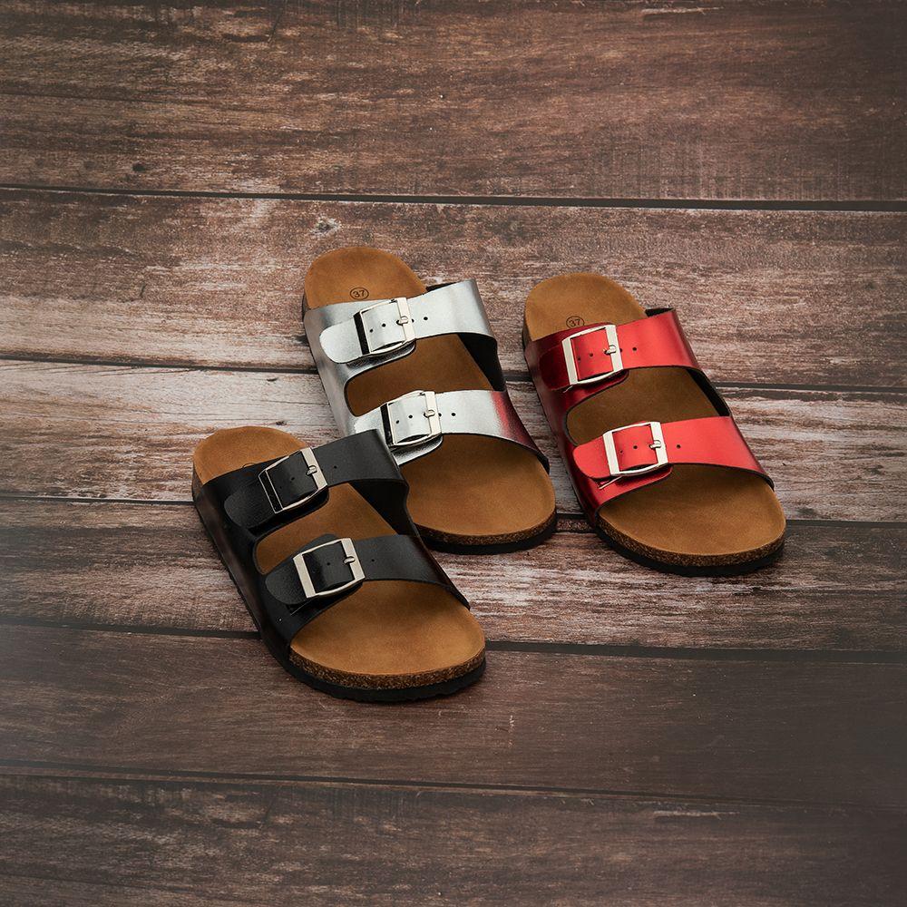 Casual Couro PU Abotoamento Andar Flat Shoes Verão Antiderrapante Flip Flops Indoor Outdoor Chinelos sandálias confortáveis Slipper outros Início