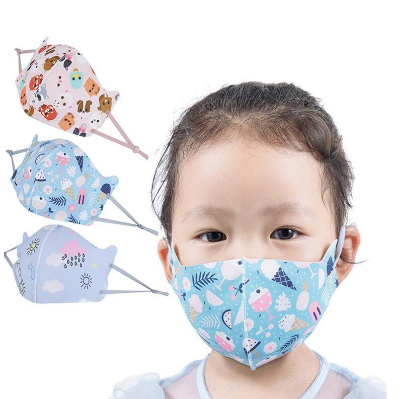 Респиратор Дети Ice Шелкового Рот маска пыл Защитная маска марлевых масок дышащего Многоразовые маски для лица мультфильма рта лица DHF5