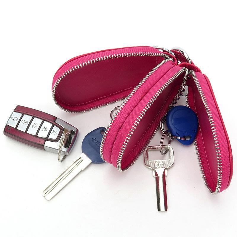 الرجال مفتاح حامل المنزل مدبرة جلدية محافظ السيارات مفاتيح المنظم المرأة المفاتيح يغطي زيبر مفتاح حالة حقيبة للجنسين الحقيبة محفظة