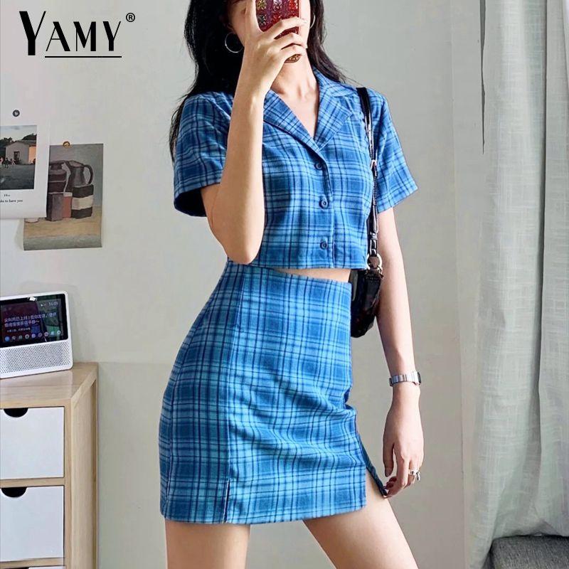 2020 Summer tops ladies blouse women cute crop top women blue blouse vintage button up shirt plaid shirt women korean Y200622