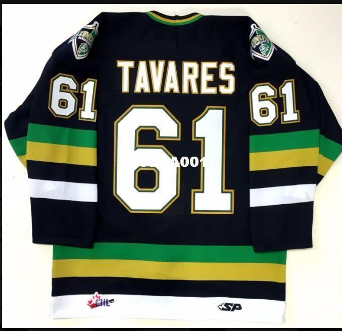Real de los hombres reales bordado completo London Knights # 61 Juan Tavares Jersey Nueva York Islanders hockey o costumbre cualquier nombre o número de hockey jersey