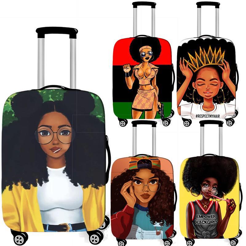 Afrikalı kız bagaj Afro kadınlar bagaj 18-32 inç T200710 için Seyahat Aksesuarları elastik tramvay durumda bavul örtüsü