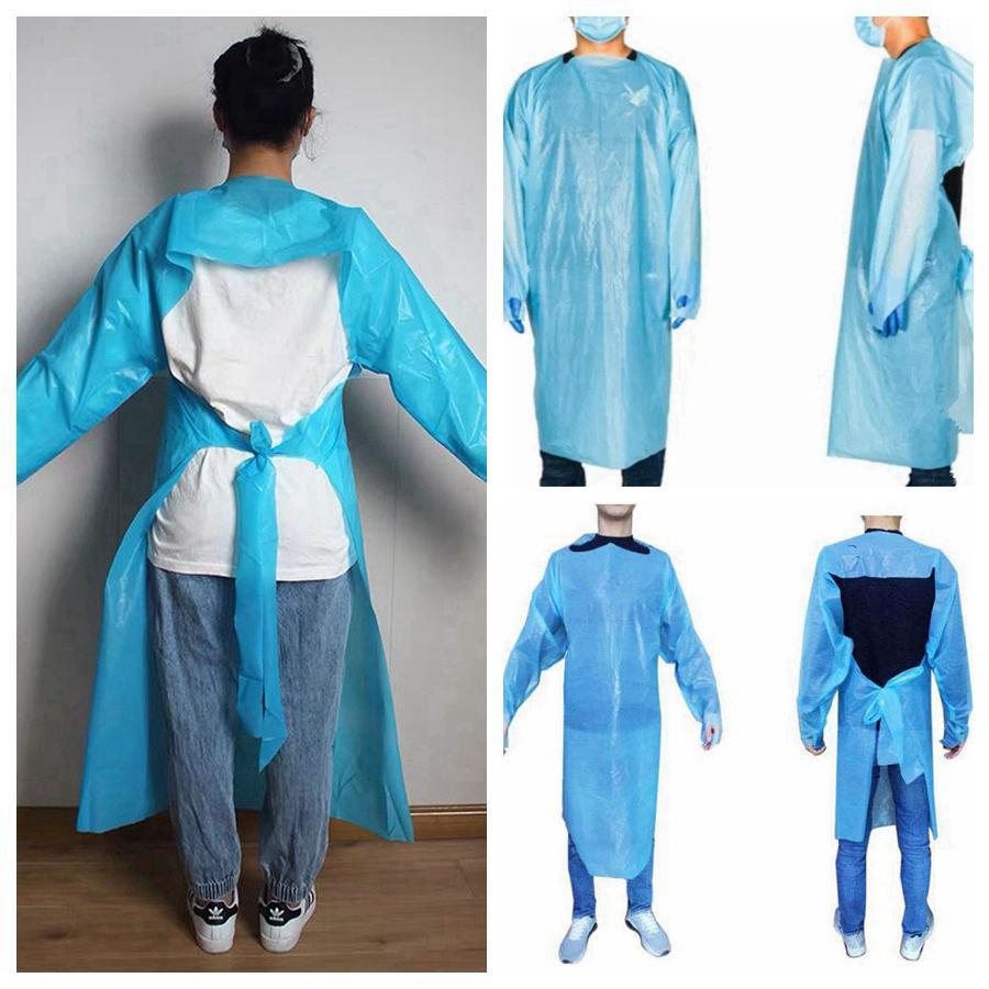CPE Защитная одежда Одноразовая Изоляция мантий Одежда Костюмы против пыли Открытый Защитная одежда CPE Одноразовые Плащ RRA3382