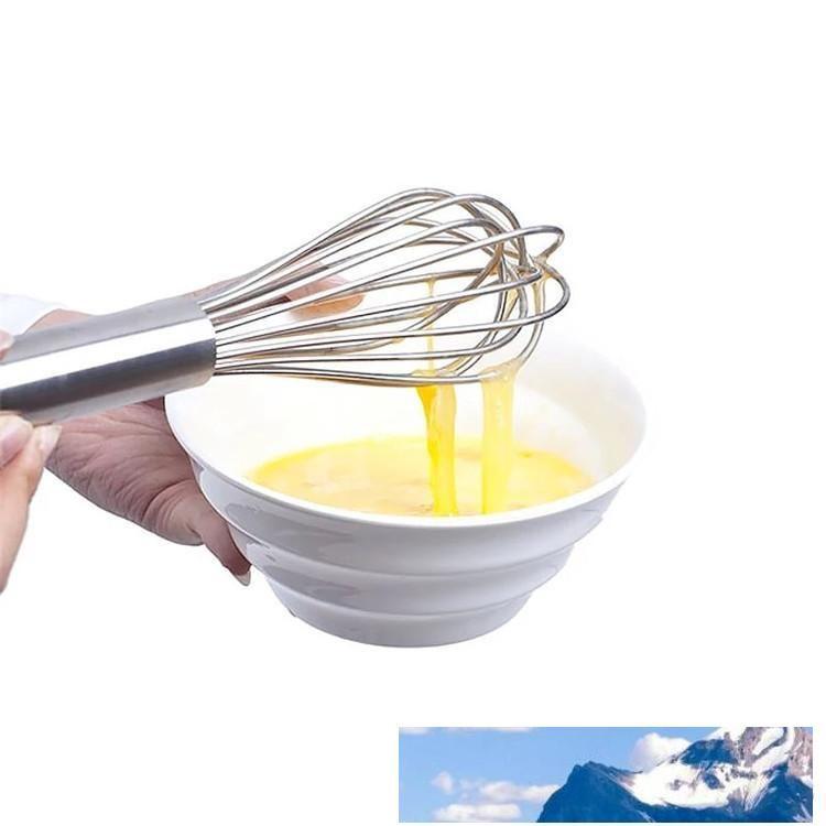 3 tailles Manuel Fouet poignée en acier inoxydable Silicone Egg Beaters Lait Crème au beurre Fouet Mixer Stiring Outil C424