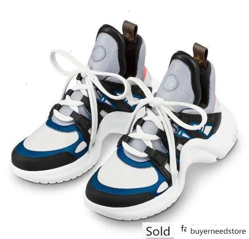 Homens Mulheres Carta casais Shoes malha Pele de vaca azul calçados esportivos casuais ARCHLIGHT SNEAKER 35-46