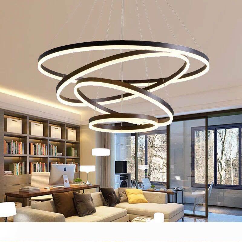 40cm-100cm Anneaux fashional lustres LED moderne pour Salle à manger bricolage anneaux cercle d'éclairage suspendus pour l'éclairage intérieur