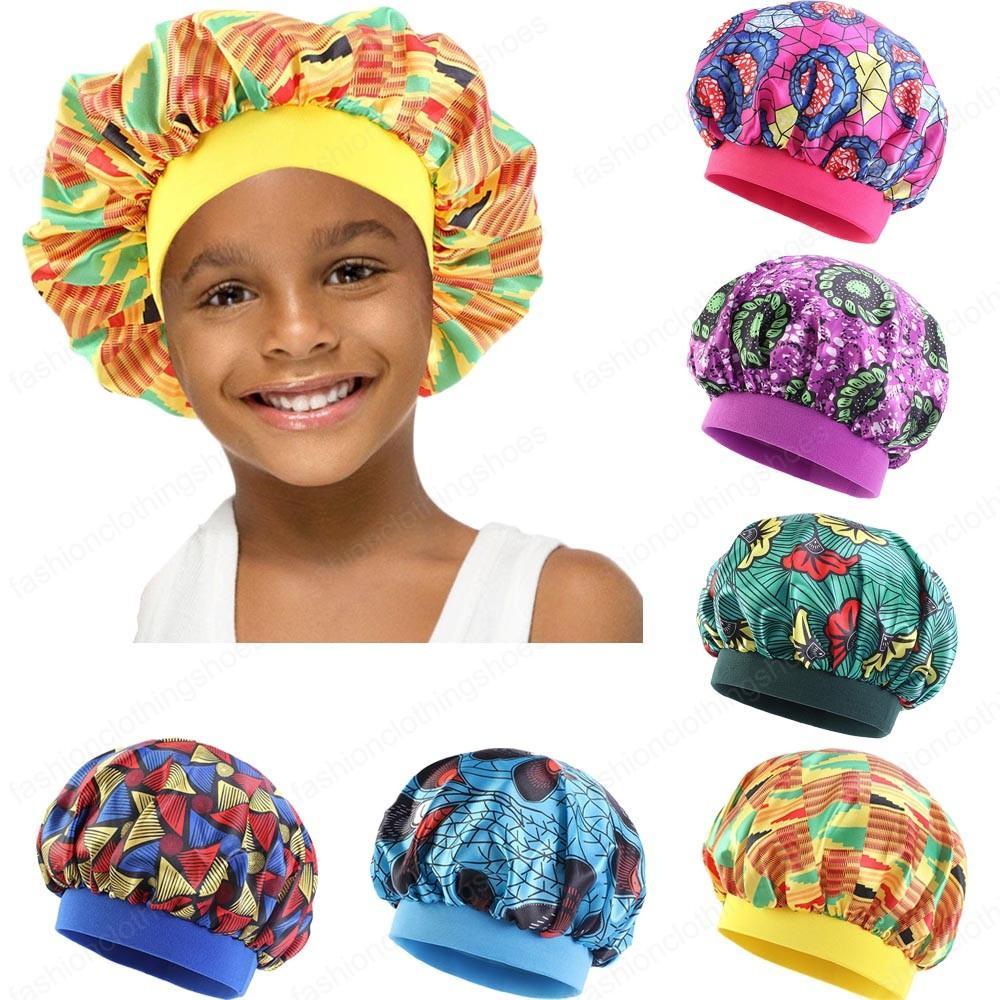 الأفريقية الجديدة بنات أطفال القبعة الحرير الزهور طباعة ليلة النوم كاب الحجاب واسعة النطاق مطاطا حك قبعة بونيه العمامة طاقية النوم
