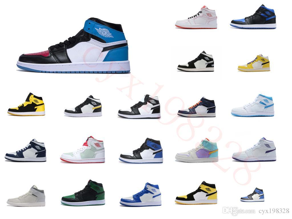 SnakeaskinИорданияРетро 1 желтый мужчин баскетбольной обуви высокого качества, тренеров 1S OG игры Royal Blue White черные мужские спортивные туфли 8100