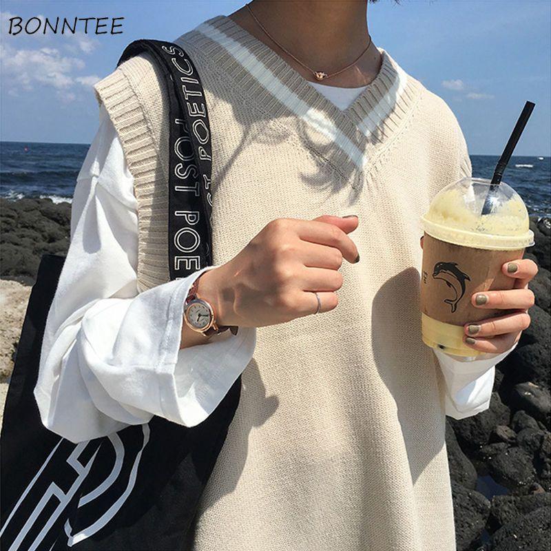 Gilet Donna V-Neck scuola semplice Albicocca Tutto-fiammifero allentato quotidiano Harajuku stile giapponese ragazze dolci maglieria abbigliamento Chic T200730