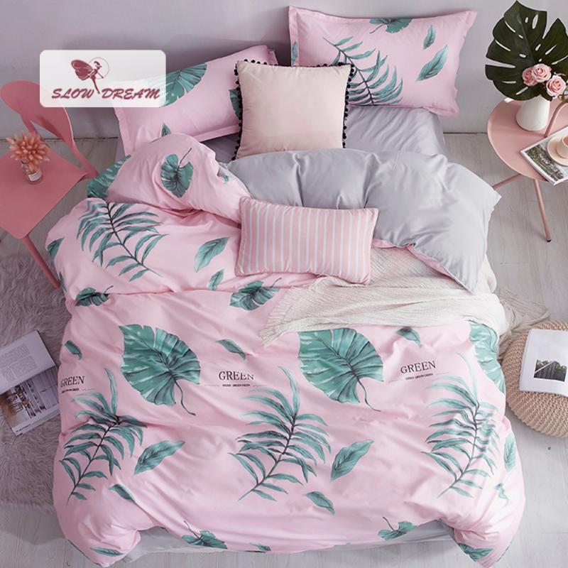 Folha SlowDream Folha Nordic conjunto de cama-de-rosa capa de edredão Adulto Colcha Home Decor Flat Bed Pillowcase Duplo cover do Queen Rei