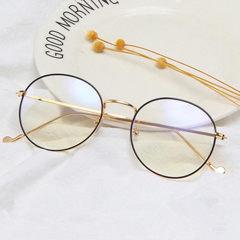 Clásico Marco Redondo montura de las gafas Marca metal ordenador vidrios ópticos de las señoras de los vidrios claros varones 6uK1 de ojos #