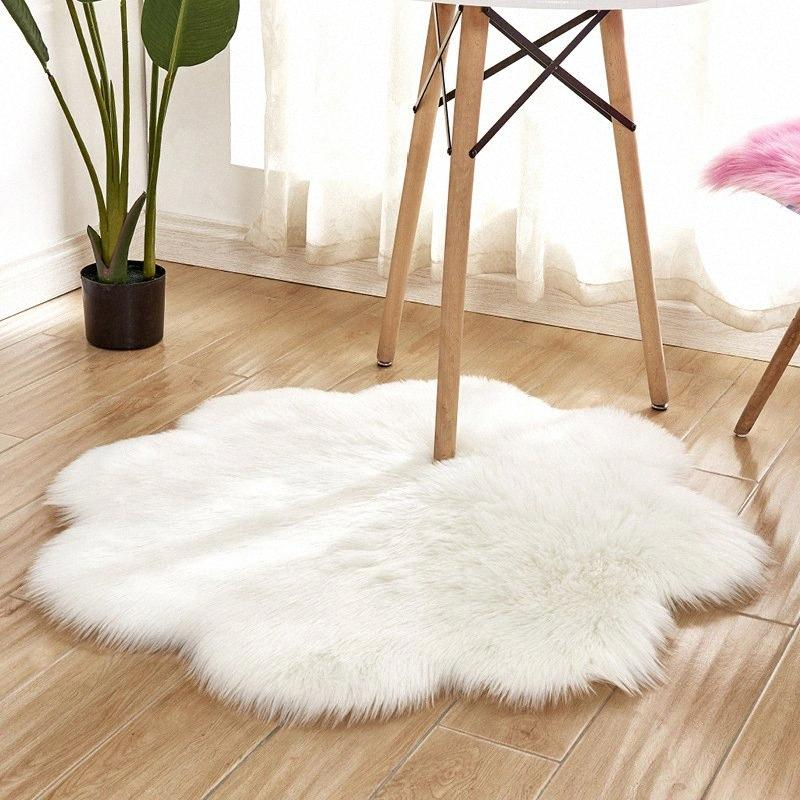 Flower Shape Hairy Carpets Sheepskin Fur Skin Fluffy Bedroom Faux Mats Washable Artificial Textile Area Square Rugs Home Decor e9VN#