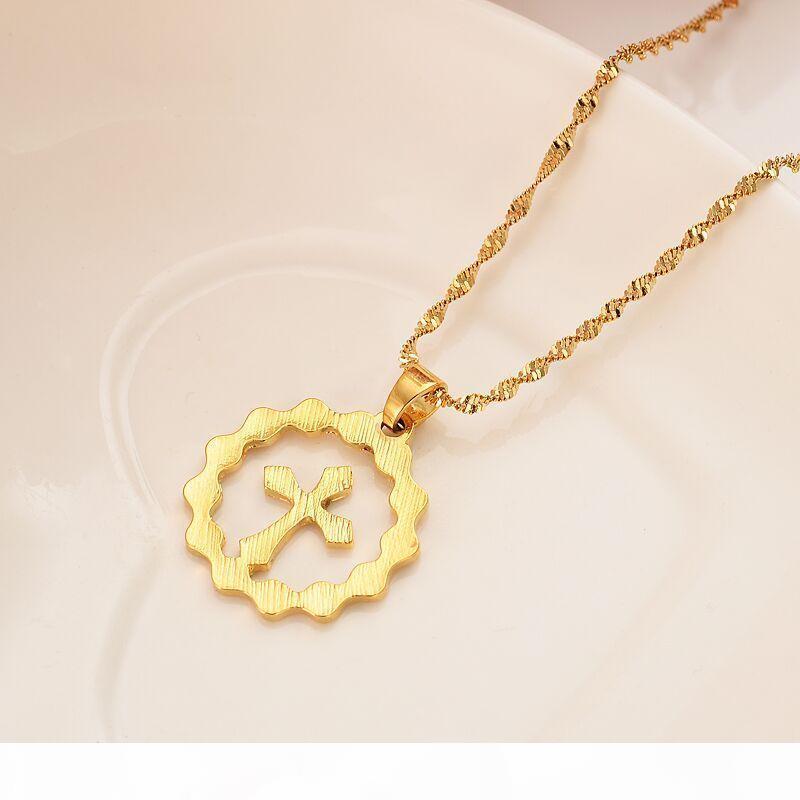 P donne fedeli raffreddano catena orecchini Bead ciondolo pendente collana oro giallo Gf Telaio Croce di Cristo gioielli Bijoux Madre regalo