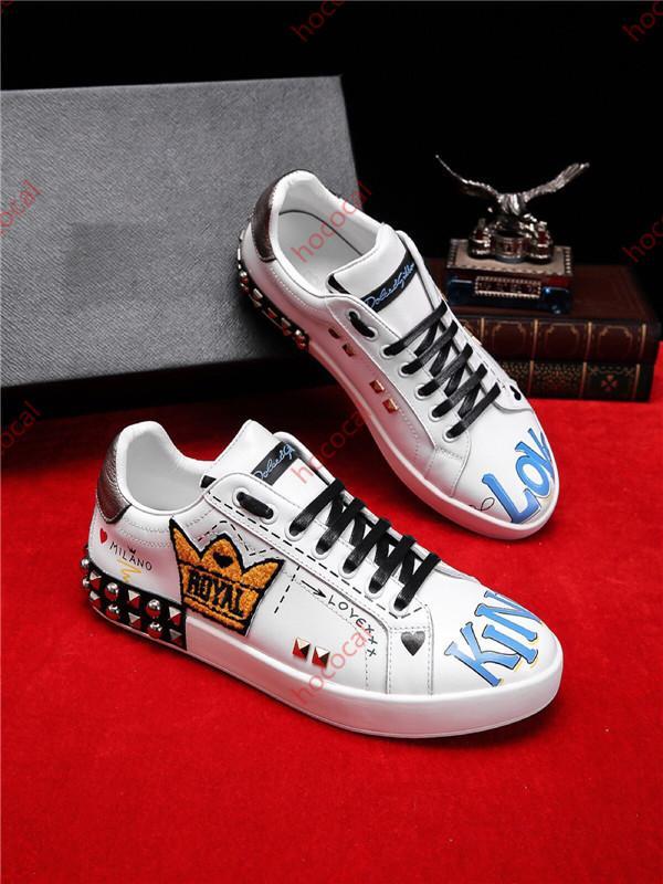Dolce Gabbana Casual Shoes hococal новой высокого качества Моды каракуля Mens дизайнер обувь кроссовки в распечатанной платформе тапки белых туфель случайных мужских ботинок конька