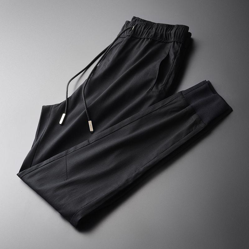 Minglu New Soft Tencel Gewebe Männer knöchellangen Hosen Modische und lässige schwarze Männer Hosen Männer Hosen plus Größe M-4XL T200728