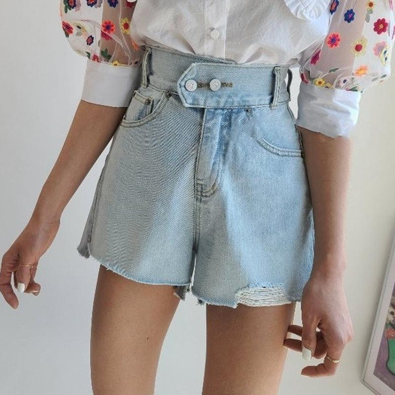 La luz azul Denim Jeans Mujeres rasgado botón pantalones cortos de mezclilla doble flojo verano pantalones de pierna ancha cortos de cintura alta de Calle 2020 X244