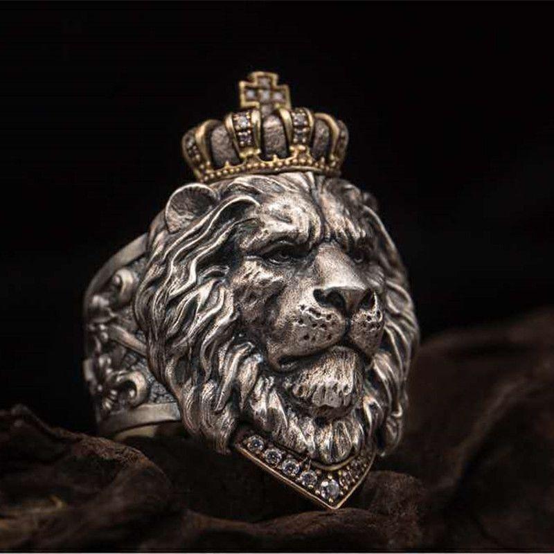 Punk animal Couronne Lion Bague pour hommes Homme bijoux gothiques 7-14 Big Size