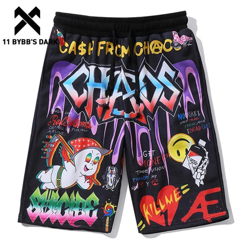 Shorts masculinos 11 bybb's escuro engraçado hip hop cartoon letra graffiti imprimido curto mens verão harajuku casual joelho comprimento férias beachshorts
