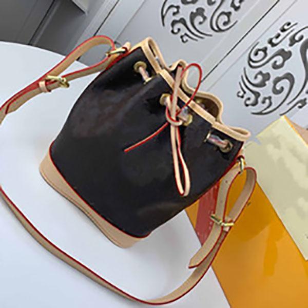 Неоное кожаное плечо покупок печать мешок кошелек реальное мешок ведро ведро классические кошельки сумки GJDWL Tote Crossbody цветы Messeng SKMJ