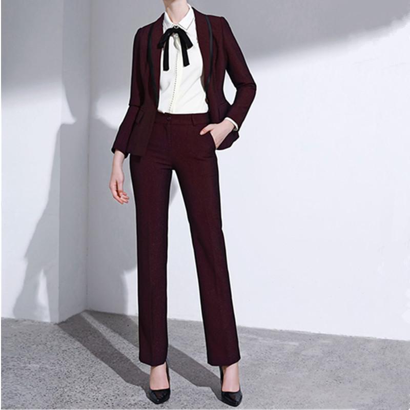 Женские двусмысленные брюки костюм Бургундия тонкие дамы из двух частей (куртка + брюки) Работа повседневная профессиональная одежда на заказ