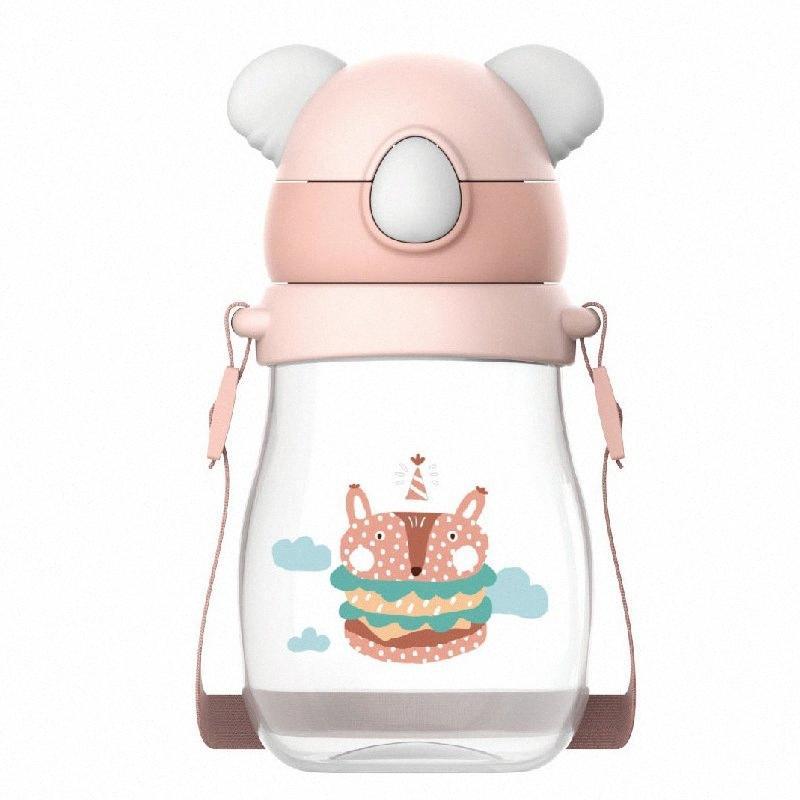 Wei Séoul Koala Cartoon LUN extérieur jarretelle Bracelet Tritan Coupe avec paille ENFANTS Coupes bébé Gobelet en verre OMpK #