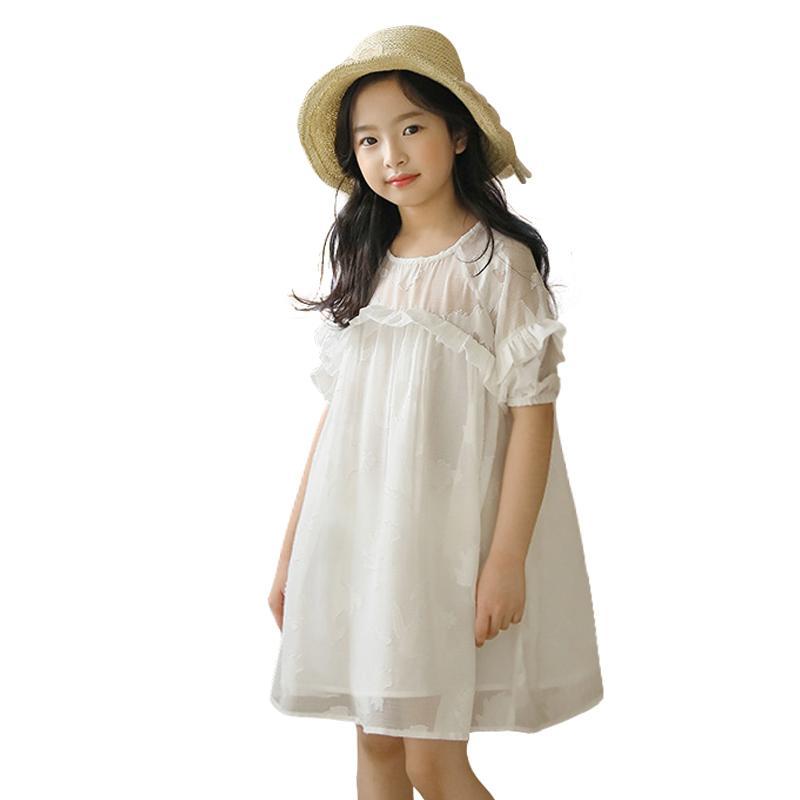 blanco edad vestido de gasa de la colmena durante 6 - 14 años niñas adolescentes vestido grande flojo niñas vestido de fiesta de graduación de los niños de manga corta vestidos del T200709