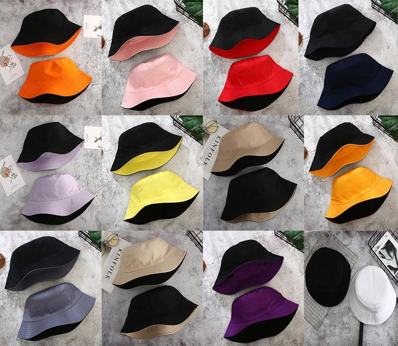 Double-sided Wearing Cap Visor Solid Color Bucket Hat Men And Women Cotton Flat Sun Hat Reversible Fisherman Hat Bucket Cap DHA516