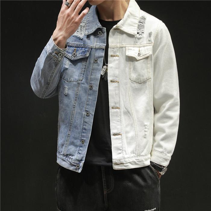 Mens Colorblock Denim Jacket Hole Loose Long Sleeve Lapel Neck Coat Male High Street Clothes