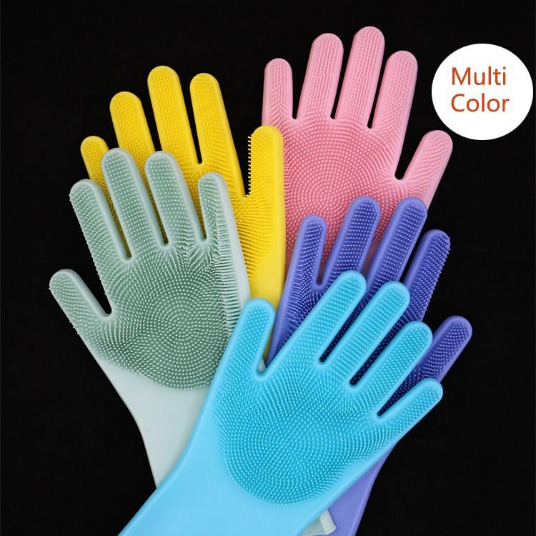 Magic Silicone Dish Washing Gloves Kitchen Accessories Dishwashing Glove Household Tools for Cleaning Car Pet Brush 1 Pair